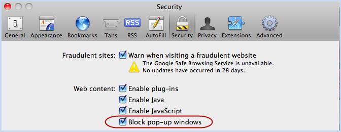 how to stop pop up blocker on mac safari